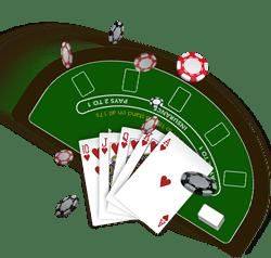 blackjack avec table de jeu visible