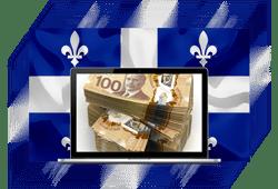 ordinateur avec billets CAD et drapeau Québec